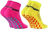 Rainbow Socks - Jungen Mädchen Neon Sneaker Sport Stoppersocken - 2 Paar - Rosa Gelb - Größen...