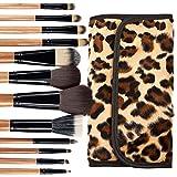 Professional makeup leopard print brush kit- 12 brushes + case. Soft bristles. Makeup brushes for powder, contour, blush, concealer, eye shadow, eye contour, brow, lip and more