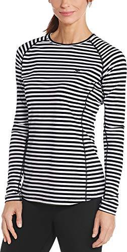 Coolibar UPF 50+ Women's Hightide Long Sleeve Swim Shirt - Sun Protective (Large- White/Black Stripe)
