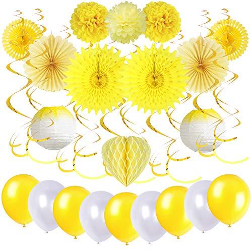 Decoración Amarillo Abanico de Papel Ventilador Linterna Globo Espiral Pom Poms Decoración para Cumpleaños Boda Carnaval Baby Shower Bautismo Home Party Supplies