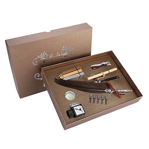 Acogedor フェザーペン 羽毛ペンセット おしゃれな空のインク瓶付き ペン先5本付き 高級感 羽飾り プレゼント 2色(#1)