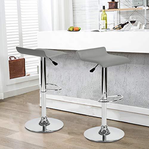 FurnitureR Juego de 2 taburetes de Bar giratorios Ajustables, Asiento con Cubierta de PVC con Base de…