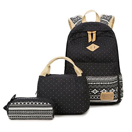 Lababe Segeltuch Rucksack mit Umhängetasche und Beutel für Mädchen Wave point black