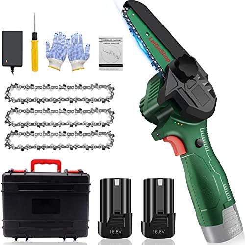 Mini Kettensäge mit Akku, 4-Zoll Akku Kettensäge mit zwei Akku und Ladegerät 16.8V, Elektro Handkettensäge, Tragbar Einhand Kettensäge for Holz und Garten (Inkl. 2 x Batterien, 3 x Ketten)
