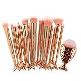 15/16PC Maquillaje Mermaid Brushe establecido cola de pescado Foundation rubor la sombra de ojos Maquillaje Brocha Contour mezcla herramientas de cosméticos 16pcs2