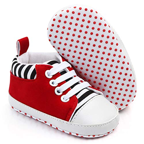 Sabatutu Infant Baby Boys Girls Canvas Shoes Soft Sole Slip On Newborn Crib Moccasins Casual Toddler Sneaker Boy's Flat Lazy Loafers First Walkers Skate Shoe (A04-Red, 6-12 Months)