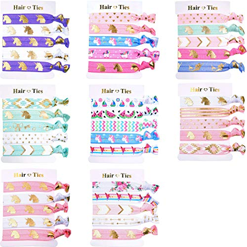 BBTO 40 Pieces Unicorn Colorful Hair Ties Bracelet Party Favors Birthday Gifts Supplies, Elastic Ponytail Holders Decorations for Girl and Children (Style 1)