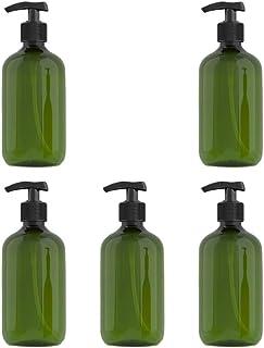 Solustre 5pcs Shampoo Pump Bottle Empty Plastic Bottles 500ml Travel Size Refillable Container for Home Travel Trip (Dark ...