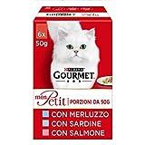 purina gourmet mon petit umido gatto delicate creazioni con pesce, con merluzzo, sardina, salmone - 48 buste da 50g ciascuna (8 confezioni da 6x50g)