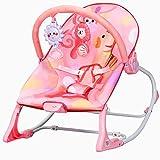 COSTWAY Balancín para Bebé Tumbona para Bebé Silla Mecedora para Bebé con Arco de Juego Extraíble y Música Carga hasta 18 kg (Rosa)