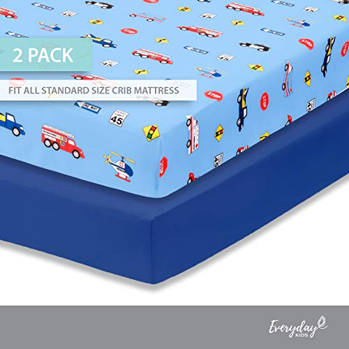 Everyday Kids 2 Pack Fitted Boys Crib Sheet