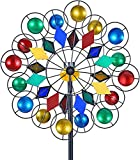 LIOYUHGTFY Unique and Magical Metal Windmill Solar Wind Spinner Metal Kinetic Garden Stake Lights Windmill Solar Wind Spinner Multi-Colour LED Light 915