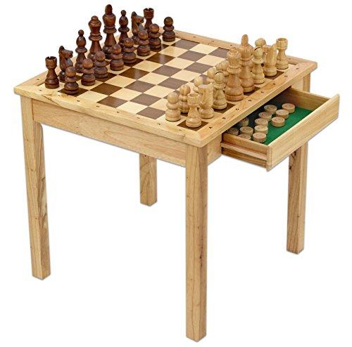 MAXI Schach und Dame, mit XXL Schach-Figuren, aus hochwertigem Holz, hohe Stabilität, mit 2 Schubladen, Maße des Tisches (B x H x T): 68 x 68 x 68 cm - Schachtisch lernen Spieltisch Schachspieltisch