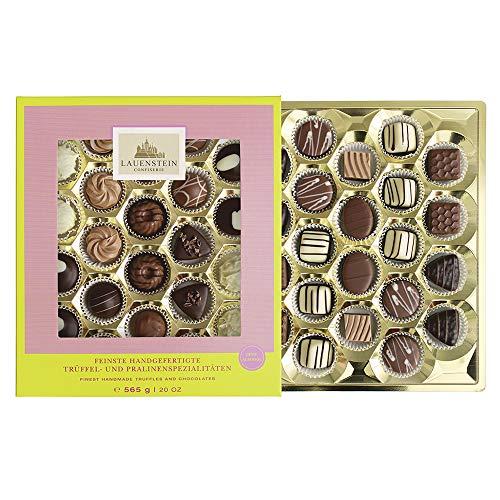 Lauensteiner Geschenkpackung SONDEREDITION | 565g handgefertigte Trüffel und Pralinen | 14fach sortiert | OHNE Alkohol | Köstliches Geschenk für jeden Anlass oder einfach so | 1er Pack