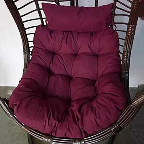 JALAL Hamac Coussin carré, balançoire Suspendue Coussinets épais Tapis de rotin de Jardin avec Oreiller-sans Support-Rouge foncé