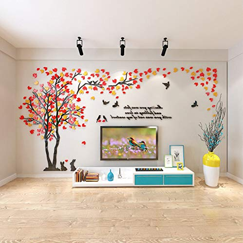 KINBEDY Acrylic 3D Tree Wall Stickers Wall Decal Easy to Install &Apply DIY Decor Sticker Home Art Decor, Orange Red-Left, Large.
