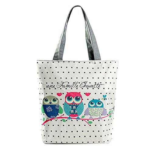 LA HAUTE Canvas Tote Bags Lovely Owl Print Summer Beach Handbags Shoulder Bags Large Shopping Bags
