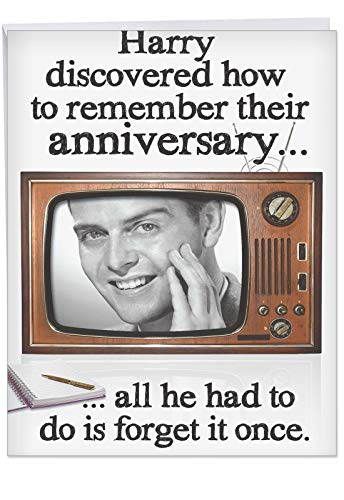 Funny Anniversary Card - 'forget Anniversary Once' with Envelope, (Extra Large Size 8.5 x 11 Inch) - Jumbo Card for the Occasion to Show Love, Laughs and Big Smiles - A Signature Greeting Card J6501