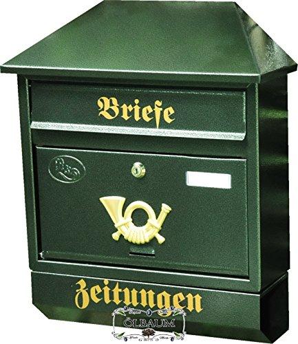 BTV Briefkasten, Premium-Qualität aus Stahl, verzinkt, pulverbeschichtet Walmdach W grün dunkelgrün moosgrün Zeitungsfach Zeitungsrolle Postkasten NEU
