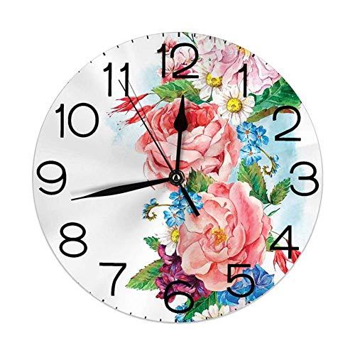 N/A Runde Wanduhr zu Hause dekorativ, Blätter mit Zweig Rosen Gänseblümchen und Flieder Pflanzen Natur Thema Kunstdruck für Wohnzimmer Büro Schlafzimmer