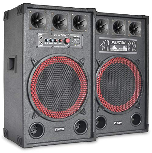"Fenton SPB-12 - PA Lautsprecher, Aktivboxen Set, 800 Watt max, 30 cm (12"")-Subwoofer, Bluetooth, USB-Port, SD-Slot, 2 x 6,3 mm-Klinke-Mic-In, Cinch-Line-In, schwarz"