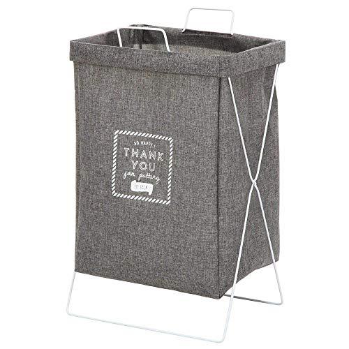 不二貿易 ランドリーバスケット 洗濯かご 幅37cm グレー 折りたたみ 内側撥水加工 32813