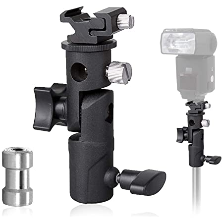 LimoStudio, AGG1986, Flash Mount Swivel Light Stand Bracket with Speedlight Holder, Umbrella Reflector Holder for Camera, Photo Video Photography