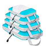 4 Pack Compression Packing Cubes, Expandable Luggage Packing Organizers with Space Saving Double