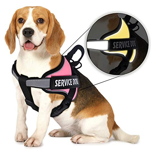 MUMUPET Dog Harness No Pull Pet Harness Adjustable Service Dog Vest For Medium Dogs Easy Control, 3M Reflective Oxford Material Vest Outdoor Walking 2 Metal Rings and Handle No More Tugging or Choking
