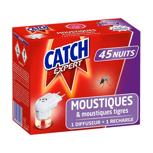 Catch Expert Moustiques – Diffuseur Electrique + Recharge (45 nuits) – Anti-Moustiques & Moustiques Tigres Répulsif