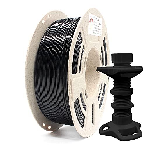 Reprapper Filamento PETG 1.75 (± 0.03mm) 1kg para Impresión 3D, Resistente Sin Nudos Enrollado Perfecto en Bobina Reciclada, Negro