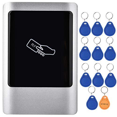 RFID Lector de Tarjetas de Control de Acceso Soporte 1000 Usuarios, Salida/Entrada Wiegand 125KHz Controlador RFID de Control de Acceso Impermeable, con 10 Llaves RFID de 125 KHz (ID)