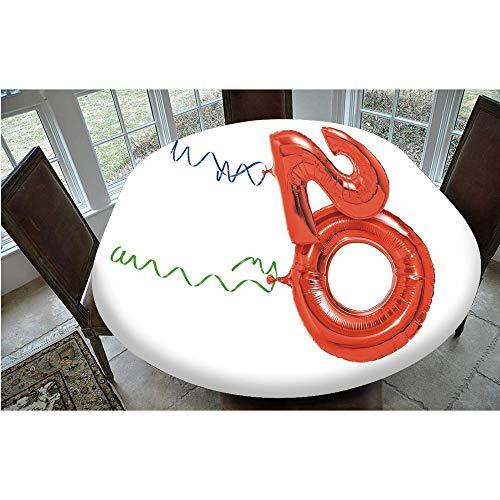 Mantel ajustable de poliéster con bordes elásticos, diseño de globos voladores con cuerda de rizos, para mesas ovaladas/Olbong de 48 x 68 pulgadas, para comedor y fiesta, rojo, verde y azul
