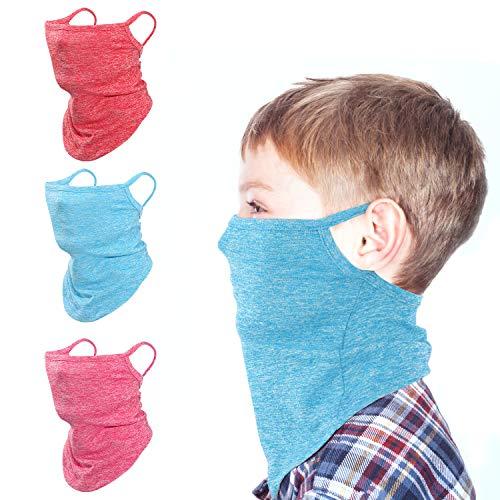 Rhino Valley Kinder Gesicht Schutztuch, 3 stück Elastisch UV Schutz Bandana Atmungsaktiv Multifunktional Schlauchschal Anti Staub Kopftuch mit Ohrschlaufe für Sport Radfahren Wandern Trekking, Bunt