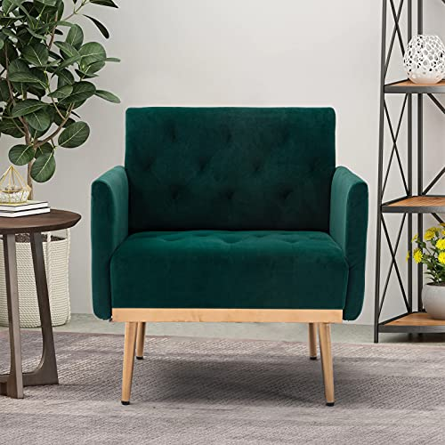 Alapaste Velvet Accent Chair Armchair,Mid-Century Lounge Chair for Bedroom,Modern Tufted Single Sofa Barrel Armchair with Gold Legs for Living Room,Green