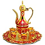 8-piece Tea Set Silver copper Set Teapot coffee pot Pattern Decorations Inlaid Crystal Stones-For Tea,Milk,Milk tea Smaller Capacity Suggest act as Decoration-6 cups 1 Teapot 1 Tray (Red gold)