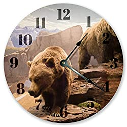 15 Inch Round Wooden Wall Clock, Battery Operated, Grizzly Bear Clock - Animal Clock - Cabin Decor, Vintage Farmhouse Wall Decor for The Kitchen, Living Room, Bedroom, Office