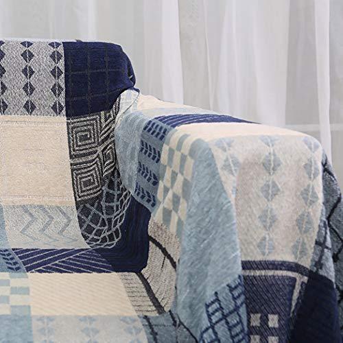 RUIXFBL Sanft Chenille Überwurf Decke für Bett Couch Sessel Plaid, Jacquard Quasten Sofa Stuhl Bezug Dekorative Geschenk, Blue