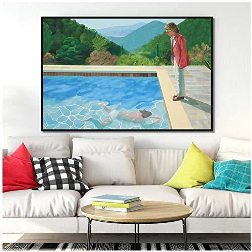 UpperPin David Hockney Pool mit Zwei Figuren Leinwand Malerei Poster und Drucke Wandkunst Bilder Wohnzimmer Dekor -50x70cmx1pcs - Holz Innenrahmen