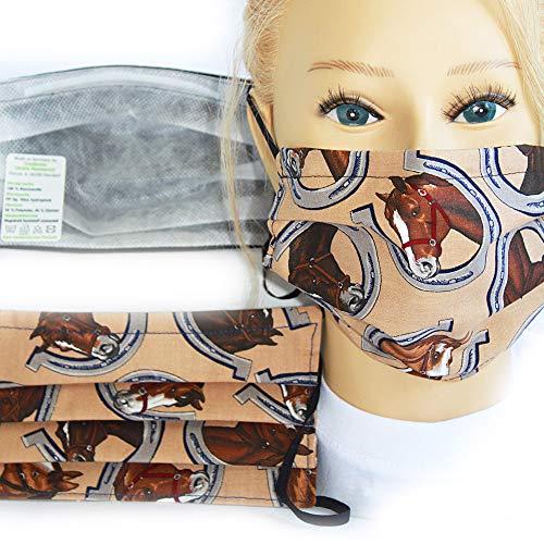 Textil Design-Maske waschbar aus Baumwolle mit Innenvlies - Hufeisen Pferd + Zugabe - 15490