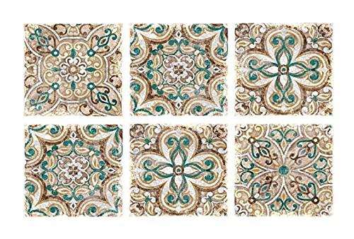 LIXBD Marocco Tile Sticker Stick on Backsplash Classic rimovibile impermeabile Pavimento Decal per cucina bagno 20x20cm 10Pcs (Verde) (colore : Verde, Dimensioni: 20x20cm)