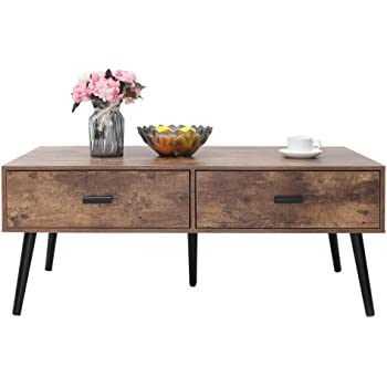 IWELL Mid-Century Coffee Table with 2 Drawer and Storage Shelf for Living Room, Boho Cocktail Table, TV Table, Rectangular Sofa Table, Office Table, Solid Elegant Functional Table, Easy Assembly