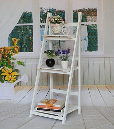 ZENGAI Porte-fleurs Blanc 3 Couches Présentoir En Pot En Bois Massif Étagères D'escalier De Balcon Étagères Pliantes, 42 * 39 * 106cm