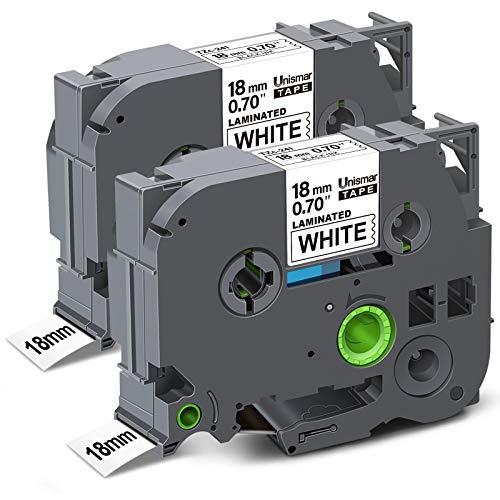Unismar 18mm 0.7 Laminated White Tape Compatible Label Tape Replacement for Brother Tz TZe-241 TZ-241 TZe241 for PTD400AD PT-D600 PT-P700 PT-1810 PT-1880 PT-2730 Printer, 3/4'' x 26.2', 2-Pack