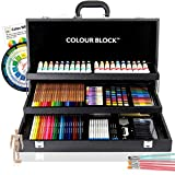 COLOUR BLOCK 181 pc Mixed Media Art Set in Durable PU leather Case - Soft & Oil Pastels, Acrylic &...