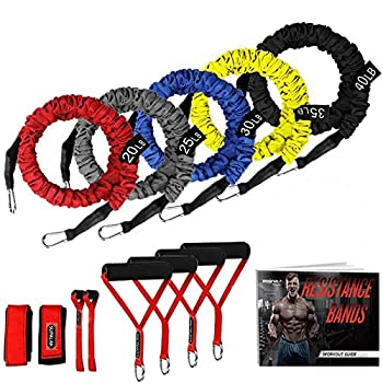 Resistance Bands 15 Pieces Exercise Elastic Resistance Bands Set 20lbs to 40lbs Resistance Tubes with Heavy Duty Protective Nylon Sleeves Anti-Snap for Fitness Workout SUPALAK