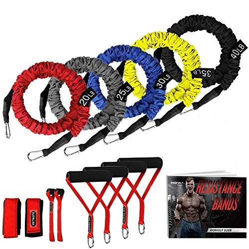 Resistance Bands, 15 Pieces Exercise Elastic Resistance Bands Set, 20lbs to 40lbs Resistance Tubes with Heavy Duty Protective Nylon Sleeves Anti-Snap for Fitness Workout SUPALAK