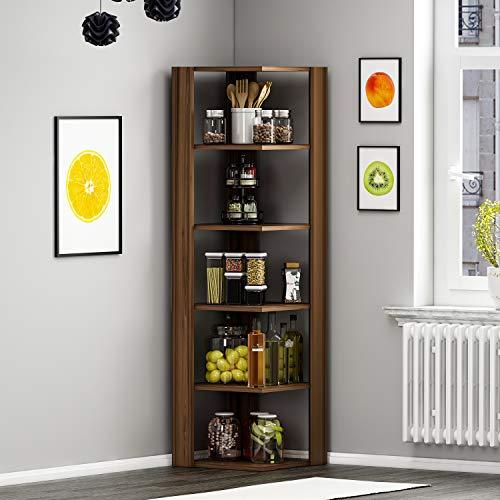 HOMIDEA Ankle Libreria - Mensola da Angolo - Scaffale per Libri - Scaffale per Ufficio/Soggiorno dal Design Moderno (Noce)