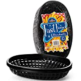 Fast Food Baskets - Classic Plastic Fry Basket, Oval-shaped Tray Design - Great for Fast Food...