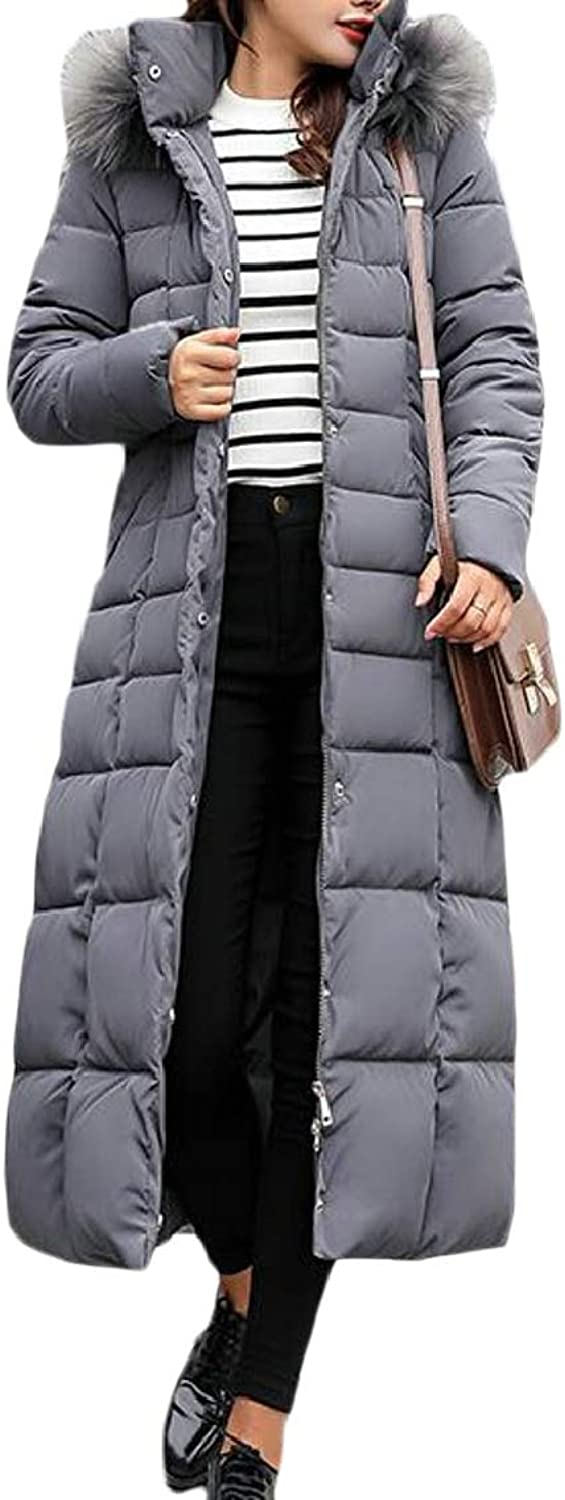 QDCACA Women Faux Fur Collar Outerwear Quilted Winter Long Parkas Down Coat